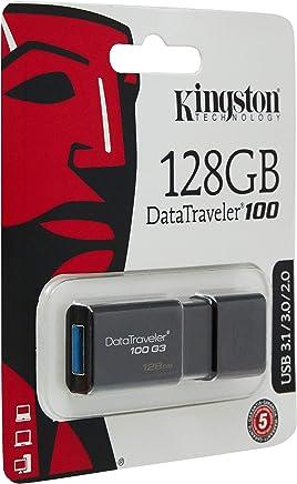 Kingston DT100G3/128 GB DataTraveler 100 G3, USB 3.0, 3.1 Flash Drive, 128 GB, Nero