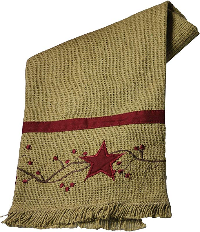 Primitive Star Vine Cotton Burlap Country Towel