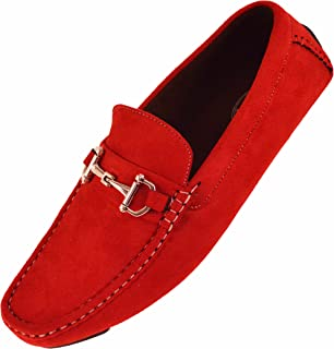 Mens Plush Microfiber Faux Suede Slip On Loafer Driving Shoe with Buckle Style Walken