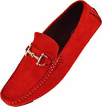 Amali Mens Plush Microfiber Faux Suede Slip On Loafer Driving Shoe with Buckle Style Walken