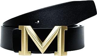Men's Big Gold M Buckle 38-mm Imported Italian Leather Belt