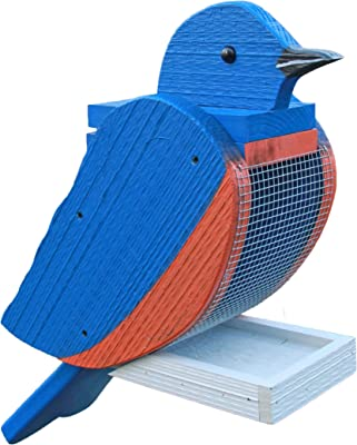 The Woodpecker Family Amish Handcrafted Bird Feeder (Bluebird)