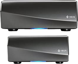 Denon HEOS AMP 100W x 2 Amplified Stereo wireless music player Amplifier with HEOS multiroom audio functionality with HEOS Link Wireless multi room Preamplifier pre amp and amp Package in Black