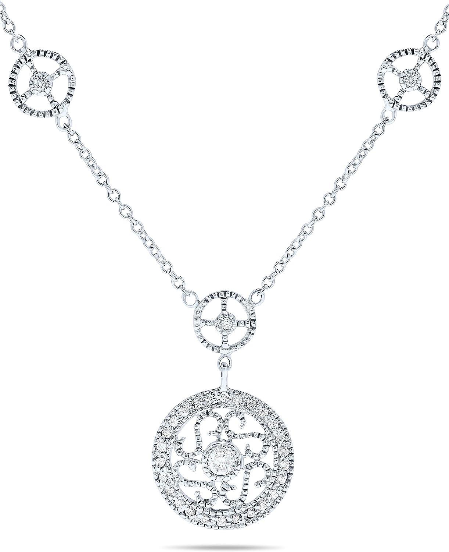 1/5 Carat Diamond Filigree Medallion and Milgrain Accent Pendant Necklace For Women in 14k White Gold, 16 Inch Chain