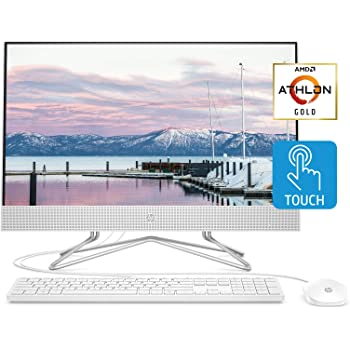HP 24-inch All-in-One Touchscreen Desktop Computer, AMD Athlon Gold 3150U Processor, 8 GB RAM, 512 GB SSD, Windows 10 Home (24-df0040, White), Snow White