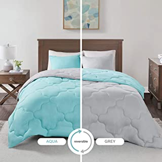 Comfort Spaces Vixie 3 Piece Comforter Set All Season Reversible Goose Down Alternative Stitched Geometrical Pattern Bedding, Full/Queen, Aqua/Grey