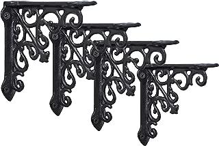 NACH js-90-061 Cast Iron Victorian Shelf Mount Bracket, Small 5 x 1 x 5 Inches, Black, 4 Pack