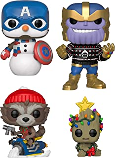 Funko Pop! Marvel: Christmas Holiday - Captain America Snowman, Thanos in Ugly Sweater, Groot with Xmas Lights and Rocket on Snowmobile - Set of 4 Vinyl Figures