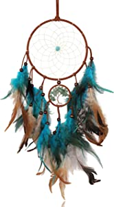 DUQGUHO Dream Catcher Wall Decor Boho Hanging Ornament for Women Girl Bedroom Baby Room Handmade Traditional Circular Net Blue Feather Tree of Life Dreamcatchers Home Decoration
