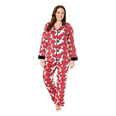 BedHead Pajamas Plus Size Long Sleeve Classic Notch Collar Pajama Set (Pointsettia) Women