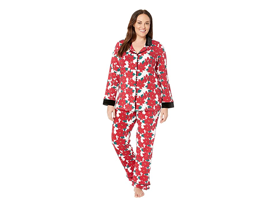 BedHead Plus Size Long Sleeve Classic Notch Collar Pajama Set (Pointsettia) Women