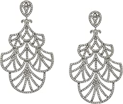 Fine Line Micro Pave Fan Swarovski Crystals Earrings