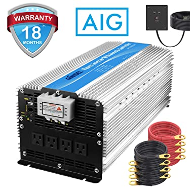 Giandel 5000W Heavy Duty Modified Sine Wave Power Inverter 12V DC to 110V 120V AC with Remote Control and 4 AC Outlets & USB Port for RV Truck Boat
