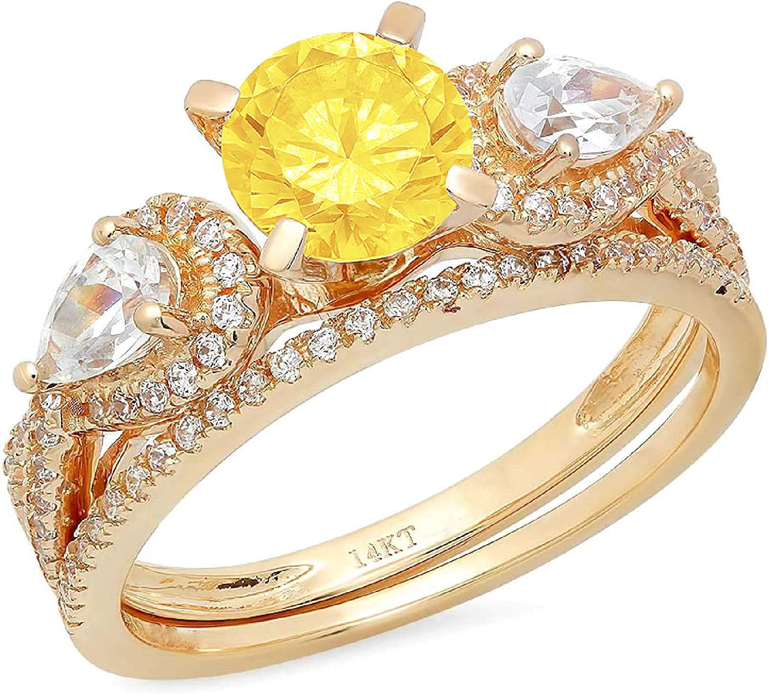 1.94ct Round Pear Cut Solitaire 3 stone With Accent VVS1 Ideal Canary Yellow Simulated Diamond CZ Engagement Promise Designer Anniversary Wedding Bridal ring band set 14k Yellow Gold