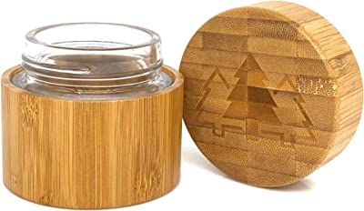 Bamboo Scent Proof Stash Jar For Herb And Spices   Quarter Ounce Wooden Discreet Smell Proof Container with Airtight Glass Jar   Keep Contents Fresh When On The Go   100ml / 3.38 oz Capacity