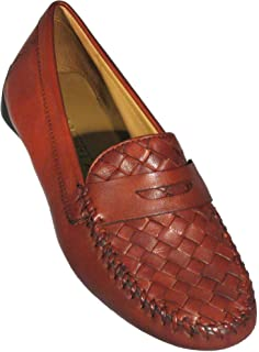 ROBERT ZUR Women's 'Petra' Vintage Luggage Woven Plug Moccasin