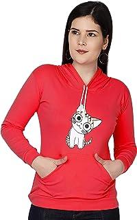 Shocknshop Cat Printed Full Sleeve Pullover Hoodie Sweatshirt for Womens and Girls (HOD06)