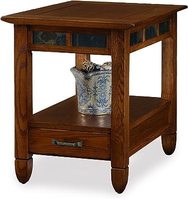 Slatestone  Oak Storage End Table - Rustic Oak Finish