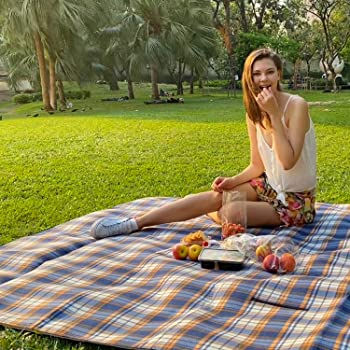"HOdo Picnic Blanket Extra Large 79""x79"" Outdoor Blanket with Waterproof PEVA Backing Accommodate 4-10 People,Mat for Camping, Grassland, Barbecue Party, Portable, Thickened Upgrade, Easy Folding"