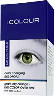 iCOLOUR Color Changing Eye Drops - Change Your Eye Color Naturally - 1 Month Supply - 9 mL (Dark Green)