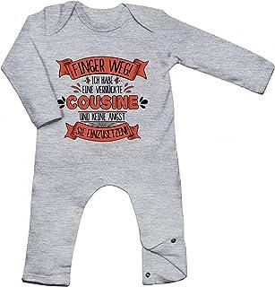 Shirt Happenz Baby Spruch Cousine Babybody Finger Weg Cousine Verrückt Langarm Langärmliger Strampler