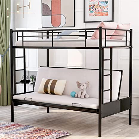 Amazon Com Twin Over Futon Bunk Beds Easy Conversion To Twin Over Full Bunk Beds Twin Full Metal Futon Bunk Sofa Bed No Box Spring Needed Furniture Decor