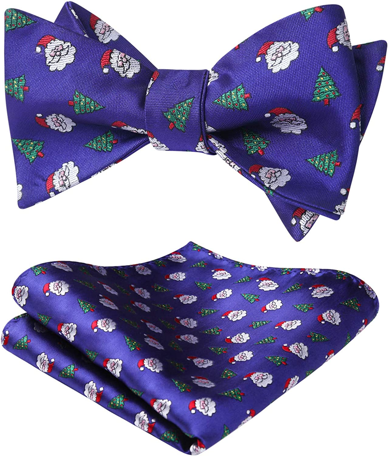 HISDERN Christmas Bow Tie for Men Festival Theme Pattern Self Tied Bow Ties & Pocket Square Handkerchief Set Party Holiday