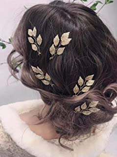 YERTTER Bride Wedding Leaves Simple Hair Pins Clips Bridal Hair Piece Hair Accessories for Women Set of 5 (Rose gold)