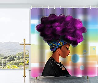 Get Orange Traditional African Black Women With Purple Hair Afro Hairstyle Watercolor Portrait Picture Print Waterproof Fabric Polyester Shower Curtain Set with Hooks72 X 72 Inches