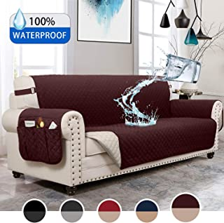 MOYMO Reversible Couch Covers for Dogs,Waterproof Sofa Cover,Sofa Covers for Dogs,Sofa Slipcover,Couch Covers for 3 Cushion Couch,Sofa Covers for Living Room,Couch Protector(Sofa:Chocolate/Beige)