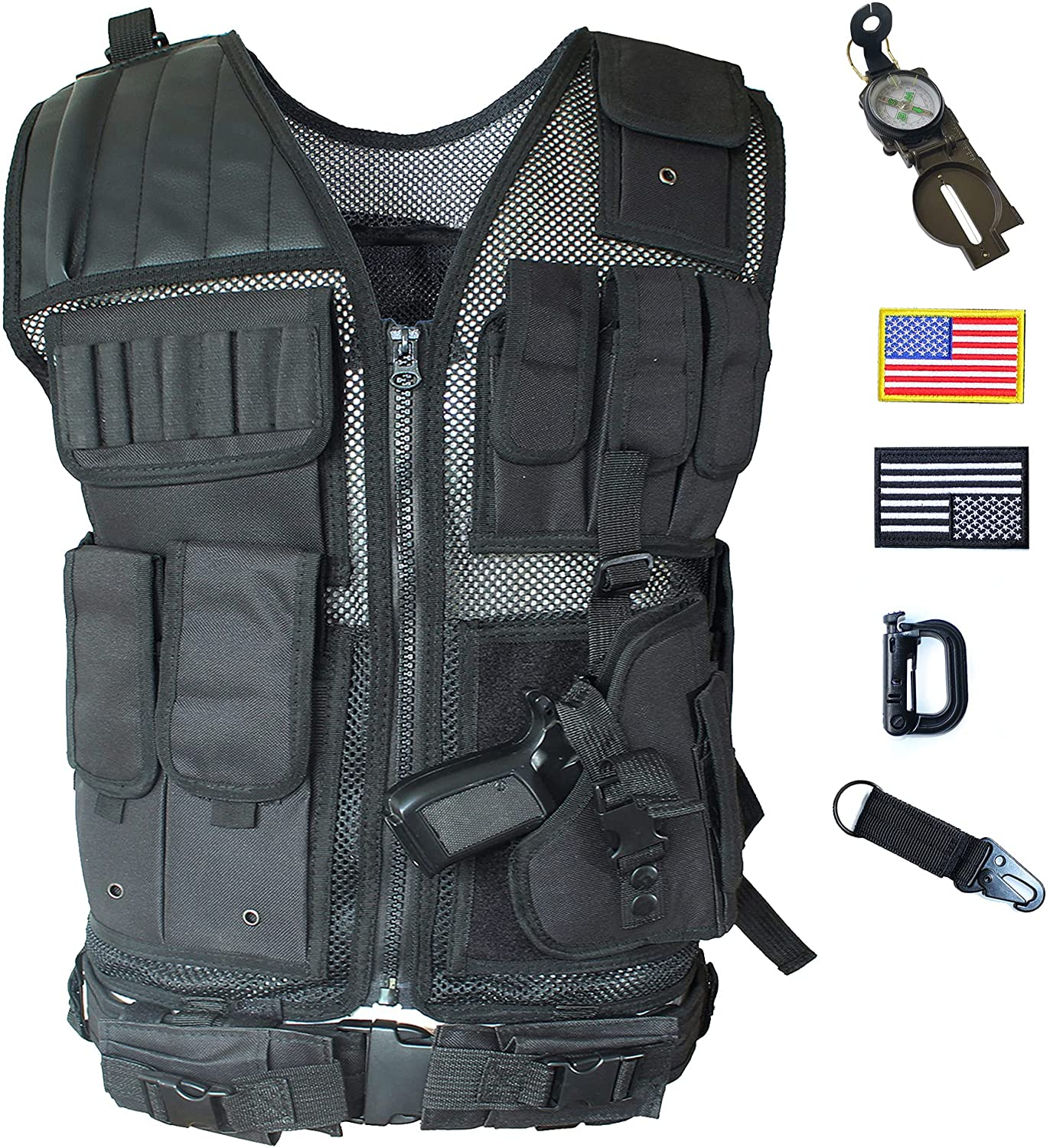 shop Black Tactical price Vest with Holster Air Adjustable Waist for Combat