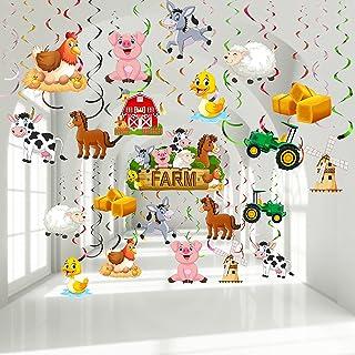30 Pieces Farm Animal Party Hanging Swirl Decorations, Barnyard Theme Birthday Party Supplies Farm Animal Hanging Foil Swi...