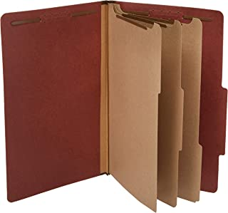 AmazonBasics Pressboard Classification File Folder with Fasteners, 3 Dividers, 3.5 Inch Expansion, Legal Size, Red (10 Pack)