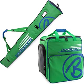 BRUBAKER Henry Superfunction Combo Ski Boot Bag and Ski Bag for 1 Pair of Ski up to 170 cm, Poles, Boots and Helmet - Blue Green
