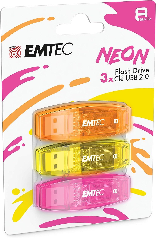 EMTEC - Memoria Flash USB 2.0 C410 (8 GB, Lectura 5 MB/S, Escritura 15 MB/S, Compatible con USB 2.0, USB 3.0, Transparentes, neón neón neón, con Tapa, Pack de 3