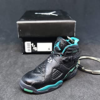 Air Jordan VIII 8 Retro Ray Allen PE OG Sneakers Shoes 3D Keychain 1:6 Figure + Shoe Box