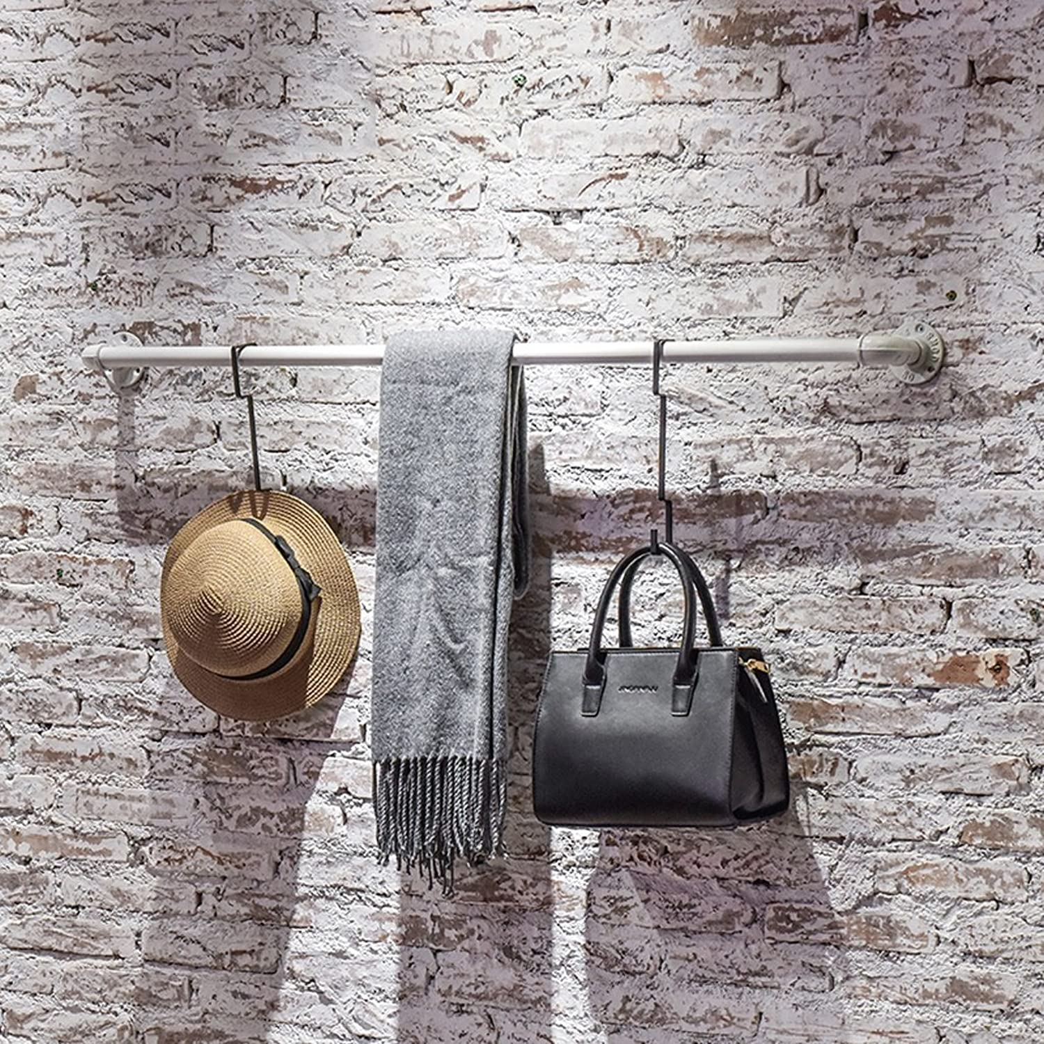 Drying Rack Indoor Airer Clothes Airer Iron Wood Wall Mounted Coat Rack Vintage Plumbing Wall Rack Clothes shoes White Hangers Solid And Durable Not Rusty Easy To Clean Living Bedroom Study Bar (1227
