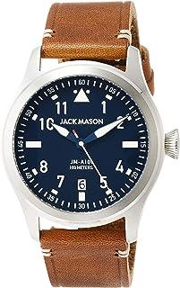Jack Mason Men's Watch Aviator Brown Italian Leather Strap JM-A101-004