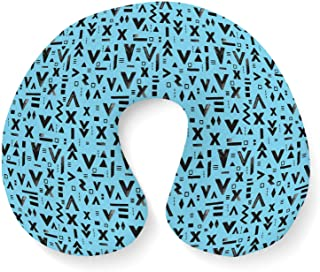 Inked Geometric Symbols Travel Neck Pillow Inflatable