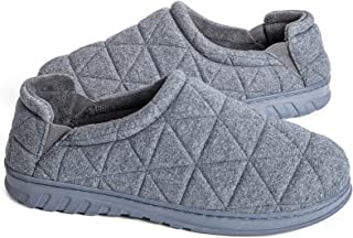 Snug Leaves Men's Quilted Fleece Memory Foam Slippers with Adjustable Elastic Gores
