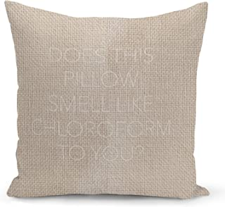 Sleepy Funny Quote Beige Linen Pillow with Pearl White Foil Print Does this pillow smell Sofa Pillow