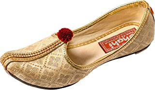 SHAHI PUNJABI FOOTWEAR Kids Designer Golden Jutti | Traditional Mojari for Kids | Boys Ethnic Footwear (SPF-2004)