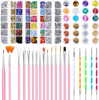 Nail Design Kit, Selizo Nail Art Tools Kit Include 8420pcs Nail Rhinestones Gems Crystals, Nail Brushes, 24 Pots Nail Foil Flakes for Nail Art Rhinestones Supplies and Decoration