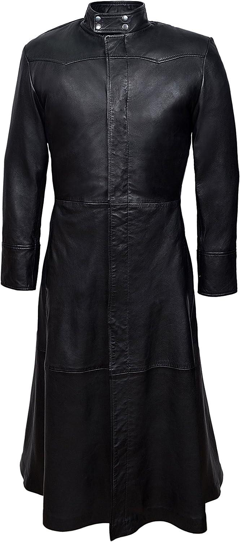 Smart Range Men's Neo Full Length Matrix Style Real Nappa Leather Jacket Coat