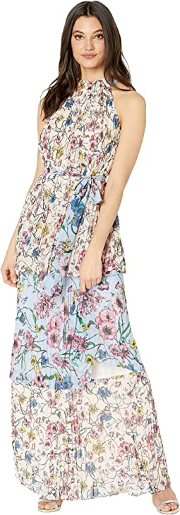 SW Floral Print Mix Pleated Maxi Dress