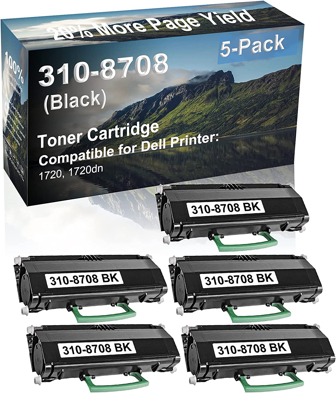 5-Pack Compatible High Capacity 1720, 1720dn Printer Toner Cartridge Replacement for Dell 310-8708 Printer Cartridge (Black)