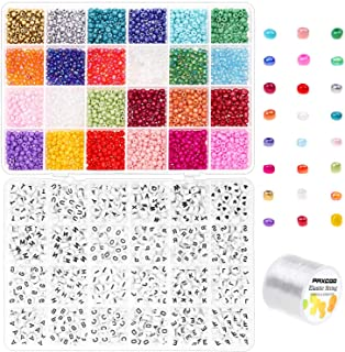 Pony Beads for Bracelets, Paxcoo 3000 Pcs 4mm Small Rainbow Pony Seed Beads with 1200 Pcs Letter Beads for Friendship Brac...