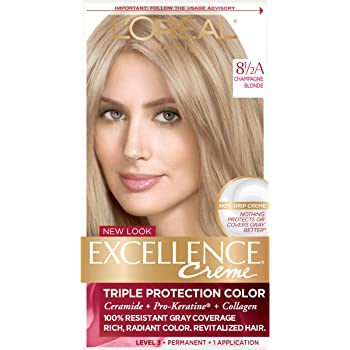 L'Oreal Paris Excellence Creme Permanent Hair Color, 8.5A Champagne Blonde, 100% Gray Coverage Hair Dye, Pack of 1