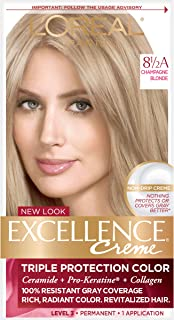 L'Oreal Paris Excellence Creme Permanent Hair Color, 8.5A Champagne Blonde, 100 percent Gray Coverage Hair Dye, Pack of 1