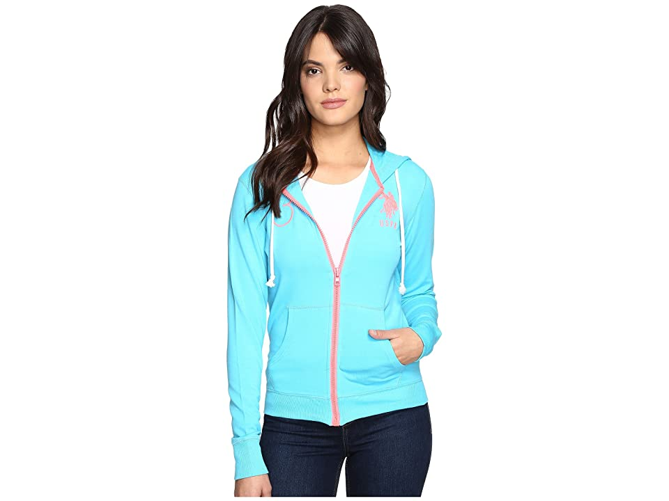 U.S. POLO ASSN. Neon Pop French Terry Hoodie (Blue Atoll) Women